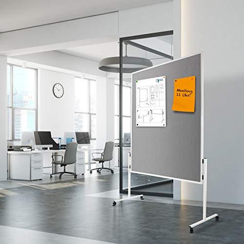 Moderationstafel Filz | doppelseitig | mit Rollen | Höhe: 185 cm | Farbe wählbar (grau) - 6