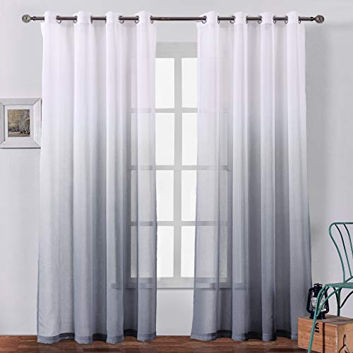Bermino Faux Linen Sheer Curtains Voile Grommet Ombre Semi Sheer Curtains for Bedroom Living Room Set of 2 Curtain Panels 54 x 84 inch Grey Gradient