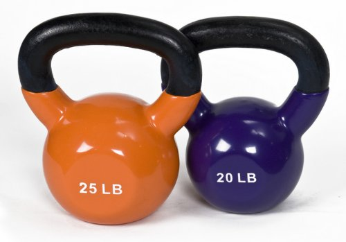 JFIT Workout Kettlebell Weights Vinyl Coated Solid Cast Iron, 12, 25 LB Set