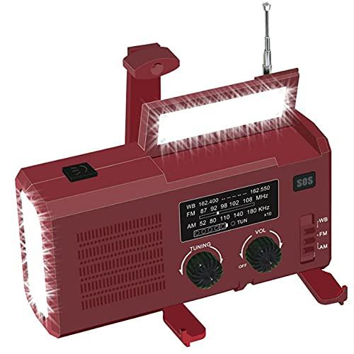 Radio Solar Dinamo, Manivela Radio,Radio De Emergencia Portátil Am/FM/WB,Banco De Energía De 4000 MAh Batería Recargable USB, LED Flashlight,Luz Leer,SOS Alarm,Resistente Al Agua (Color : Crimson)