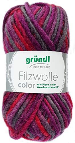 Gründl Filzwolle Color 50g (Brombeer Grau Rot 24)