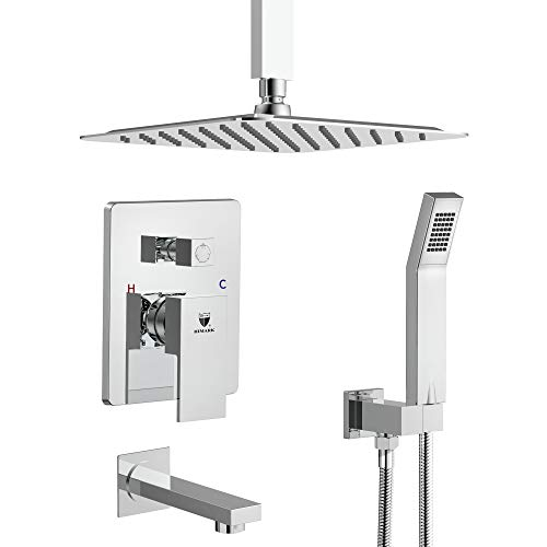 HIMK Shower System, Ceiling Mount Shower System Chrome with 12