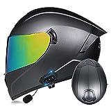 Casco Bluetooth para motocicleta, casco modular con Bluetooth, casco delantero con doble visera antiempañamiento, aprobado por ECE/DOT (color: #1)