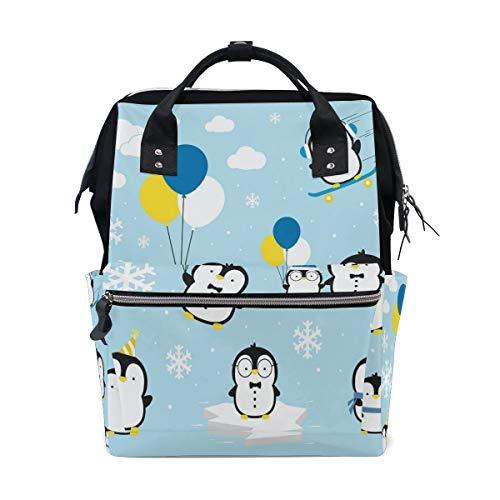 Lindo pingüino globo nube copo de nieve multifunción bolsas de pañales mochila bolsa de viaje