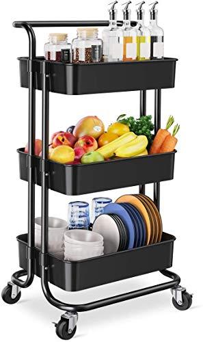 Carrito de almacenamiento – 3 niveles Rolling Utility Organizer Rack, Craft Art Cart, organizador multiusos, carro de servicio para oficina, baño, cocina, habitación infantil, lavandería, negro