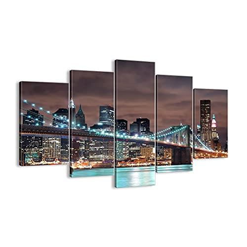 Cuadro sobre lienzo - Impresión de Imagen - Ciudad Puente Rascacielos - 150x100cm -...