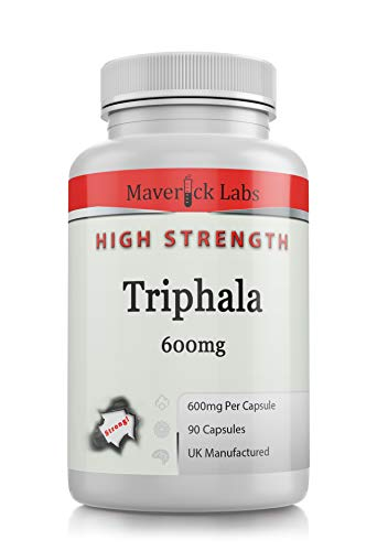 Triphala Capsules Supplement *Highest* Quality Vegan and Vegetarian Safe - Heavy Metals Tested - with Tannins and Gallic Acid Not Tablets (90 Capsules Per Bottle)