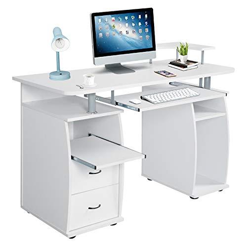 DREAMADE Laptoptisch Arbeitstisch Holz, Computertisch mit Schrank sowie Ablagefläche, Schreibtisch Bürotisch PC Tisch Beistelltisch (Weiß)