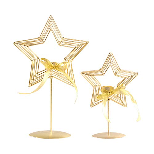 Christmas Candle Holder Retro Iron Candles Rack Star Shaped Tealight Gold Candlestick Home Decor Candelabra for Wedding Party