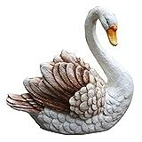 ZHXQ Garden Sculpture White Swan Statue,...