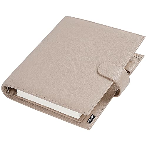 Luxury Lined Journal Notebooks Luxe A5 Planner with 30 MM Silver Rings Binder Agenda Organizer Diary Journal Notepad Sketchbook Classic Notebooks/Journals for Work College (Color : Litchi Taupe)