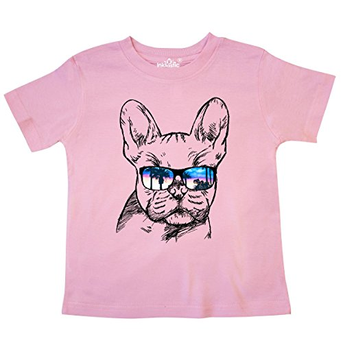 inktastic French Bulldog Portrait with Sunglasses Toddler T-Shirt 4T Pink 2a719