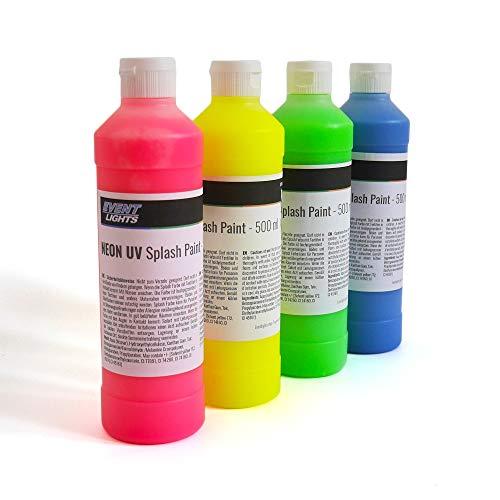 NEON UV Splash Paint 4 x 500 ml - Leuchtfarben: pink, gelb, grün, blau - Schwarzlicht - Splash-Party - Leuchtende Spritzfarbe - Neon-Farbe