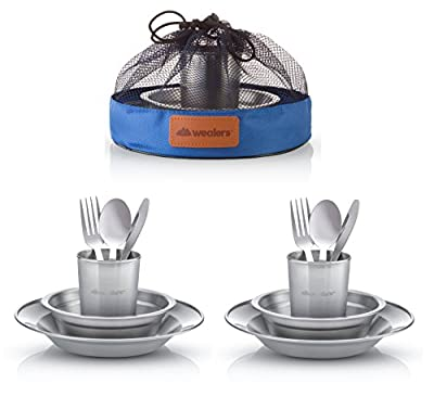 Wealers Unique Complete Messware Kit Polished Stainless Steel Dishes Set  Tableware  Dinnerware  Camping  Buffet  Includes - Cups   Plates  Bowls  Cutlery  Comes in Mesh Bags (2 Person Set)