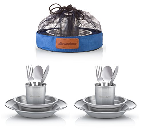 Wealers Unique Complete Messware Kit Polished Stainless Steel Dishes Set| Tableware| Dinnerware| Camping| Buffet| Includes - Cups | Plates| Bowls| Cutlery| Comes in Mesh Bags (2 Person Set)