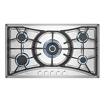 Empava 36 in. Gas Stove Cooktop with 5 Italy Sabaf Sealed Burners NG/LPG Convertible in Stainless Steel, 36 Inch