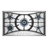 Empava 36 Inch Gas Cooktop Professional 5 Italy Sabaf Burners Stove Top Certified with Thermocouple Protection in Stainless Steel, Silver