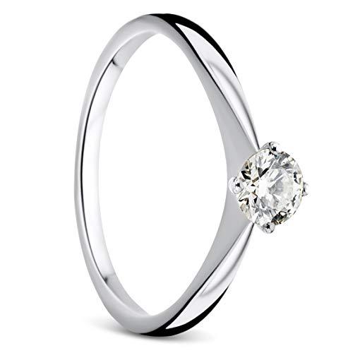 Orovi, anello da donna in oro bianco 0,30 ct, solitario con diamante da 9 carati (375) e diamanti e Oro bianco, 52 (16.6), cod. OR9210R52