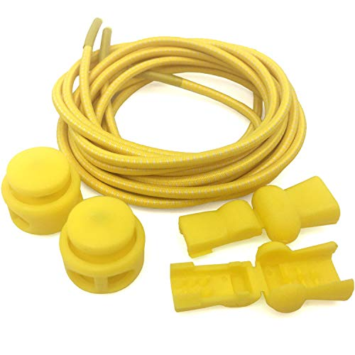 DANHUA Kids and Adults Round Elastic No Tie Shoelaces Lazy Shoe laces Yellow 39 Inch [2 Pair]