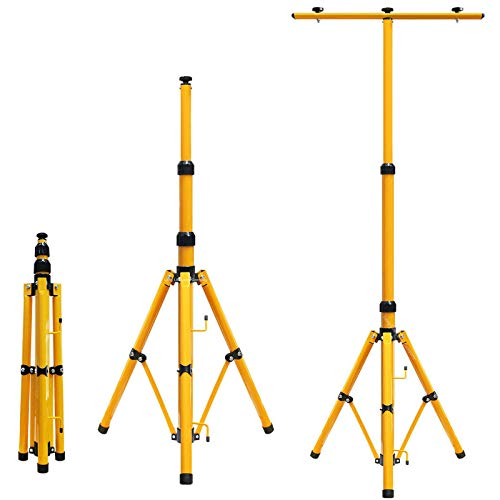 Teleskop Stativ Strahler Stahl Stativ für Baustrahler LED Fluter Stahlstativ Arbeitslampe Gelb [Energieklasse A++]; Trägerteil für 1 or 2 Strahler, höhenverstellbar bis 1,60 Meter