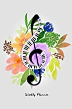 Weekly Planner: Piano & Florals Design 6x9 Pocket Organizer and To-Do-List Notebook Gift for Music Lovers, Songwriters and Musicians