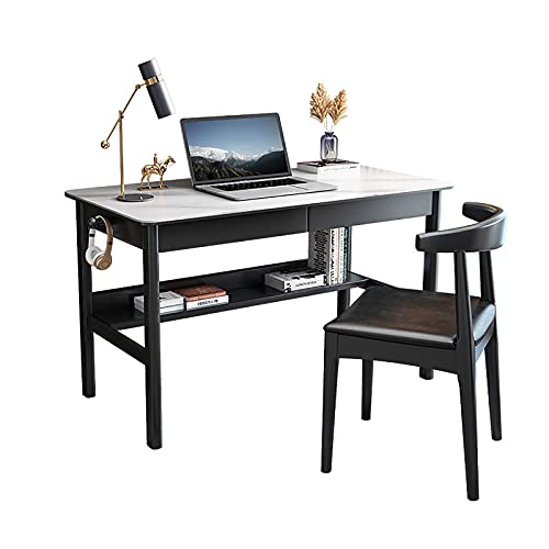 Mesa de Escritorio Mesa para Computadora Portátil, Escritorio para Estudiantes, Fuerte y Resistente, Escritorio para Computadora con Dos Cajones y una Silla, para la Escuela de la Oficina en Casa