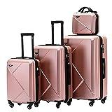 Münicase 9008 Reisekoffer Koffer Trolleys Hartschale Koffersets Beautycase-M-L-XL-Set (4tlg. Kofferset, Rosa Gold) - Best Reviews Guide