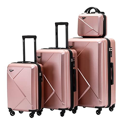 Münicase 9008 Reisekoffer Koffer Trolleys Hartschale Koffersets Beautycase-M-L-XL-Set (4tlg. Kofferset, Rosa Gold)