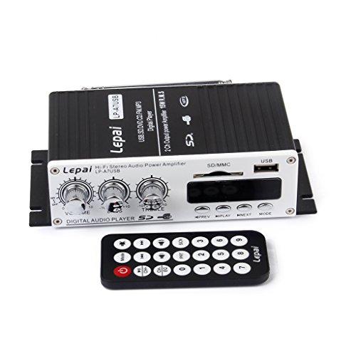 Amplificador Mini de audio (MP3, Hi-Fi, estéreo). amplificador de audio con USB/puerto SD FM con control remoto