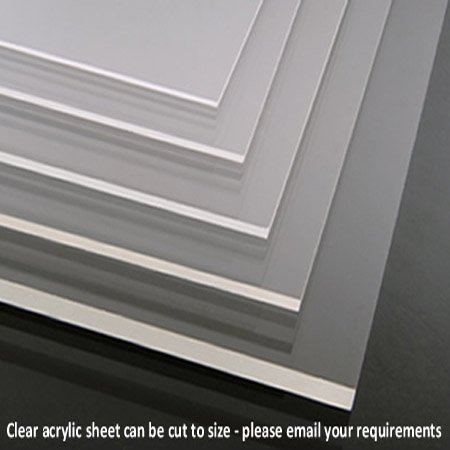Hoja de acrílico transparente de Perspex, tamaño A4, 297 x 210 mm en 2, 3, 4, 5, 6, 8 y 10 mm