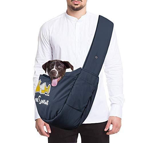 Zwini Tragetuch Hund Katze Haustier Hand Schleuderträger Schultertasche Verstellbare Gepolsterte Schultergurt mit Fronttasche hundetragebeutel Metro Outdoor für Welpen unter 12 kg,50 x 27 x15 cm