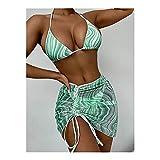 MASHUANG Llamativo Mujeres Halter Bikini con Falda de Envoltura, Chicas 3 Piezas Traje de baño Sexy Alta Cintura Tanga Abajo, 2021 diseño de Moda de Verano De Moda (Color : Green, tamaño : Medium(M))