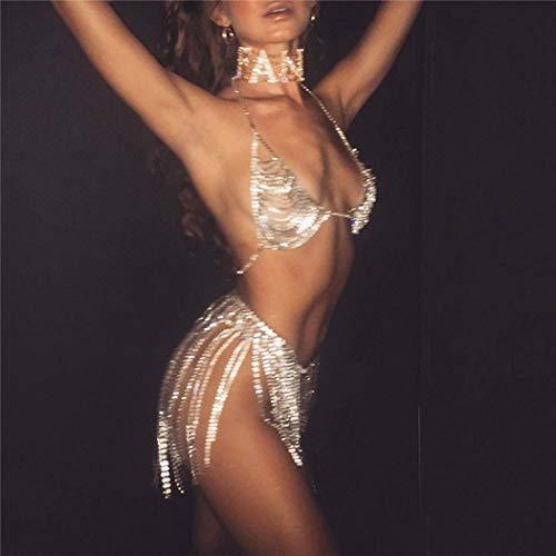 Sethain Boho Strass Bikini Ketten einstellen Gold Kristall Quaste Taille Kette Geschichtet Truhe Kette Strass Bauch Kette Körperschmuck für Frauen und Mädchen