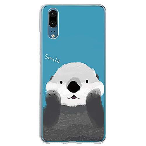 kkkie hoes voor Huawei P20 Pro hoes doorzichtig zachte siliconen TPU hoes met leuk dierpatroon dun schokbestendig beschermende beschermhoes case voor Huawei P20 Pro