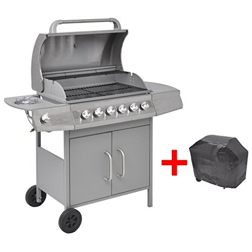 41aqRZj51hL. SS500  - mewmewcat Gas Barbecue Grill 6+1 Burners Silver Outdoor Cooking Electronic Ignition 133 x 58 x 108 cm Silver