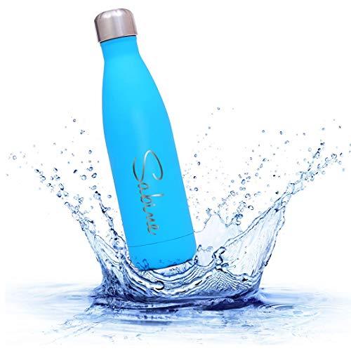 W&S Sprenger Trinkflasche 0,5 l, 0,75 l, 1,0 l | Persönliche Gravur | Thermosflasche | Edelstahl | Personalisiert | Motiv | Name (Türkis)