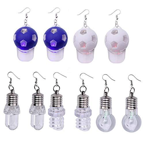 5 paar LED-oorbellen spiraal gloeilamp hoed druppels oorbellen voor feestjes