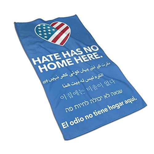 Hdadwy Hate Has No Home Here Toalla de baño de microfibra (27,5 x 15,7 pulgadas), de gran tamaño, suave, súper absorbente y de secado rápido, sin decoloración, uso multipropósito para deportes, viajes