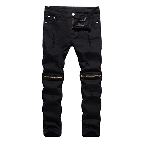 Boy's Black Slim Fit Skinny Ripped Distressed Zipper Jeans With Holes 10