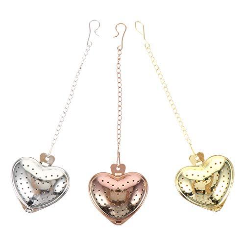 SOIMISS 3 peças em formato de coração em aço inoxidável para infusores de chá coador de chá filtros criativos para chá
