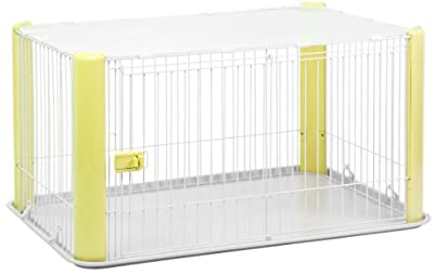 IRIS Large WireDog Crate with Mesh Roof, Yellow