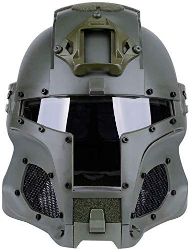 Cosplay Airsoft Paintball Full face Protective Helmet, Tactical Riding Sorta-Kinda Mandalorian/Boba Fett/Galac-Tac Style Helmet with PC Lens and Replaceable Lens