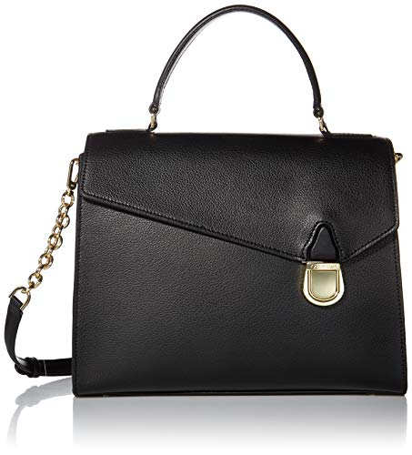 Calvin Klein Iris Hermine Leather Top Handle Satchel, BLACK/GOLD