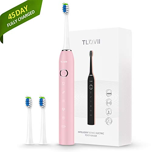 Price comparison product image Sonic Electric Toothbrush for Adults,  USB Magnetic Rechargeable Toothbrush, Fast Charging Least 45 Days Battery Life, Smart Timer 5 Modes 2 Replacement Heads,  IPX7 Waterproof Pink Toothbrush