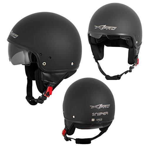 A-Pro Motorradhelm Motorrad Roller Jet Helm Innensonnenblende Viser Matt Schwarz XL