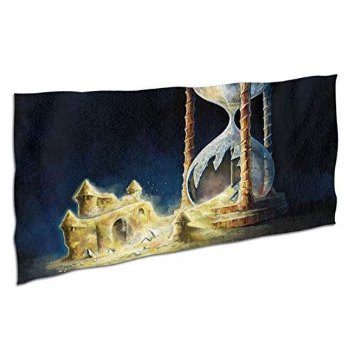 NANITHG Toalla de Playa,Castillo de Cristal Roto Arte Digital Arte fantástico Relojes de Arena Arena,Deportes Toalla Secado Rápido,Manta de Grande y Liviana de Viaje para Gimnasio 37x74in
