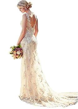 Ikerenwedding Women's Double V-Neck Straps Lace Applique Mermaid Wedding Dress
