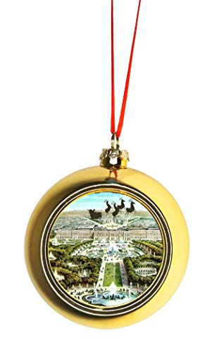 Rosie Parker Inc. Santa Klaus and Sleigh Riding Over The Palace of Versailles France Bauble Christmas Ornaments Gold Bauble Tree Xmas Balls
