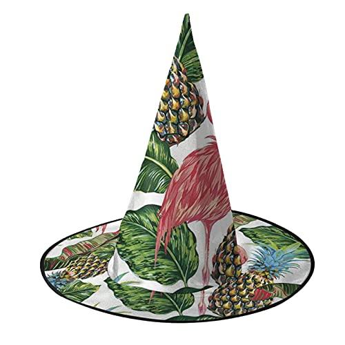 Sombrero de bruja unisex para Halloween, disfraz de flamenco, fruta, hoja de piña, accesorio para cosplay de disfraces de disfraces para niños, para hombre y mujer, color negro