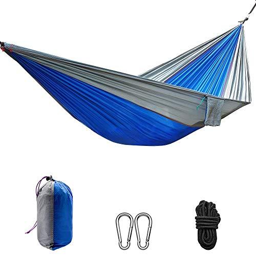 Chyang Hamaca de Camping Ligero portátil, Hamaca de Nylon de Doble paracaídas con Correas para mochileros, Camping, Viajes, Playa, jardín, etc. 270 x 140 cm (Color : Blue Grey)